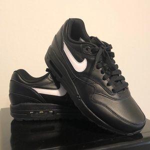 Black leather custom Nike Air sneakers